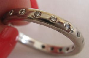 18ct white gold soft court full diamond eternity ring 4 grams .40ct